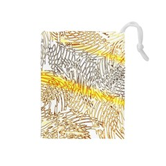 Abstract Composition Digital Processing Drawstring Pouches (Medium)