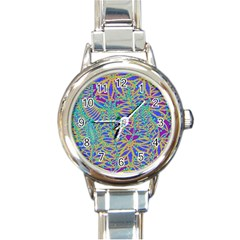 Abstract Floral Background Round Italian Charm Watch
