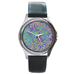 Abstract Floral Background Round Metal Watch