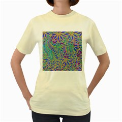 Abstract Floral Background Women s Yellow T-Shirt