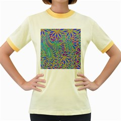 Abstract Floral Background Women s Fitted Ringer T Shirts
