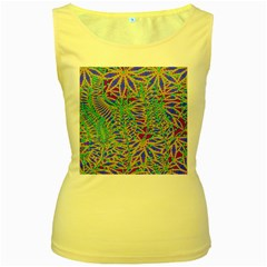 Abstract Floral Background Women s Yellow Tank Top