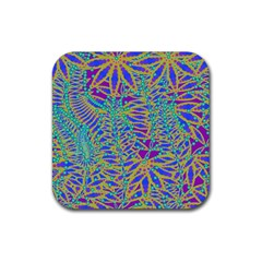 Abstract Floral Background Rubber Coaster (Square)
