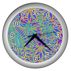 Abstract Floral Background Wall Clocks (Silver)