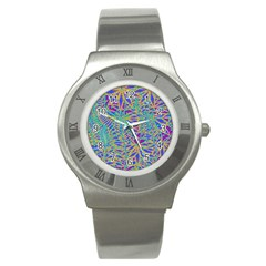 Abstract Floral Background Stainless Steel Watch