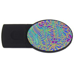 Abstract Floral Background Usb Flash Drive Oval (4 Gb)
