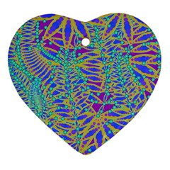 Abstract Floral Background Heart Ornament (two Sides)