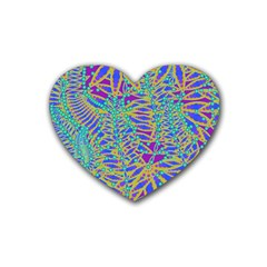 Abstract Floral Background Rubber Coaster (heart)