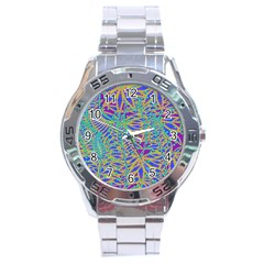 Abstract Floral Background Stainless Steel Analogue Watch