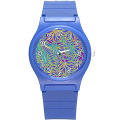 Abstract Floral Background Round Plastic Sport Watch (s)