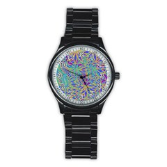 Abstract Floral Background Stainless Steel Round Watch