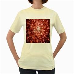 Water Drops Red Women s Yellow T-Shirt