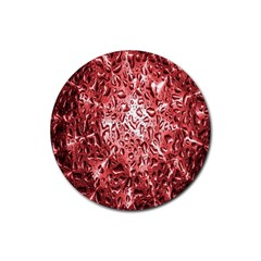 Water Drops Red Rubber Coaster (round)