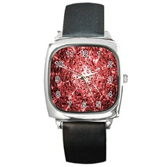 Water Drops Red Square Metal Watch