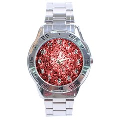 Water Drops Red Stainless Steel Analogue Watch