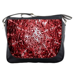 Water Drops Red Messenger Bags