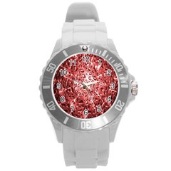 Water Drops Red Round Plastic Sport Watch (l)