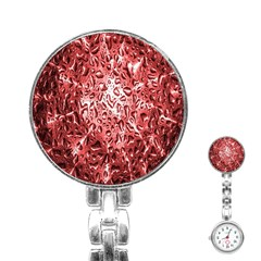 Water Drops Red Stainless Steel Nurses Watch