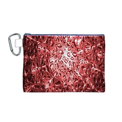Water Drops Red Canvas Cosmetic Bag (M)