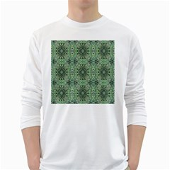 Seamless Abstraction Wallpaper Digital Computer Graphic White Long Sleeve T Shirts