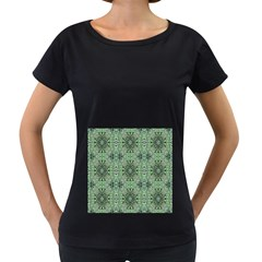 Seamless Abstraction Wallpaper Digital Computer Graphic Women s Loose-Fit T-Shirt (Black)