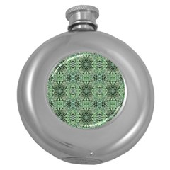 Seamless Abstraction Wallpaper Digital Computer Graphic Round Hip Flask (5 oz)