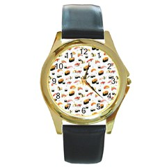 Sushi Lover Round Gold Metal Watch