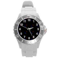 Tranquil Abstract Pattern Round Plastic Sport Watch (L)