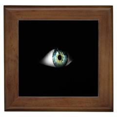 Eye On The Black Background Framed Tiles