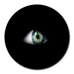Eye On The Black Background Round Mousepads
