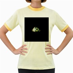 Eye On The Black Background Women s Fitted Ringer T Shirts