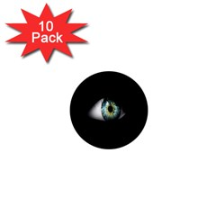 Eye On The Black Background 1  Mini Buttons (10 Pack)