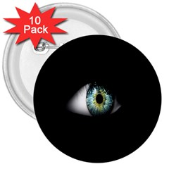 Eye On The Black Background 3  Buttons (10 pack)