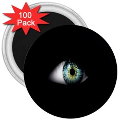 Eye On The Black Background 3  Magnets (100 Pack)