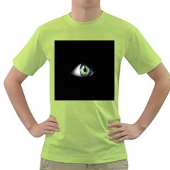 Eye On The Black Background Green T-Shirt