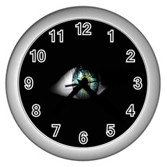 Eye On The Black Background Wall Clocks (Silver)
