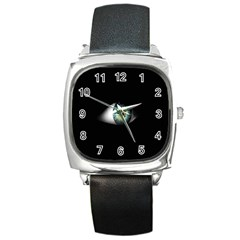 Eye On The Black Background Square Metal Watch
