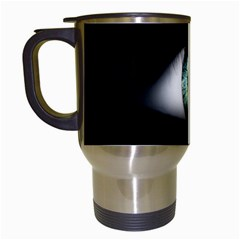Eye On The Black Background Travel Mugs (White)
