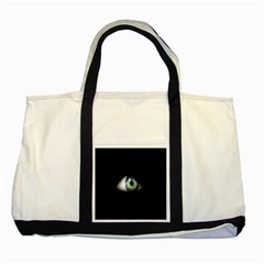 Eye On The Black Background Two Tone Tote Bag