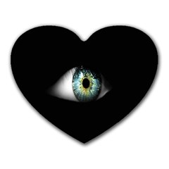 Eye On The Black Background Heart Mousepads