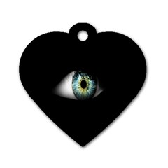Eye On The Black Background Dog Tag Heart (one Side)