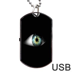 Eye On The Black Background Dog Tag USB Flash (Two Sides)