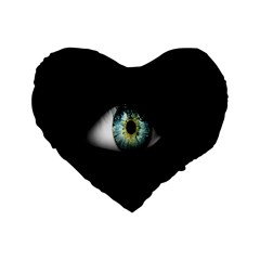 Eye On The Black Background Standard 16  Premium Heart Shape Cushions