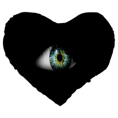 Eye On The Black Background Large 19  Premium Heart Shape Cushions
