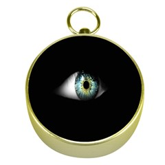 Eye On The Black Background Gold Compasses