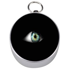 Eye On The Black Background Silver Compasses