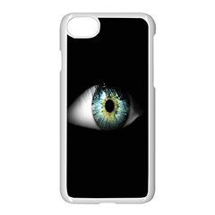 Eye On The Black Background Apple iPhone 7 Seamless Case (White)
