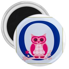 Alphabet Letter O With Owl Illustration Ideal For Teaching Kids 3  Magnets