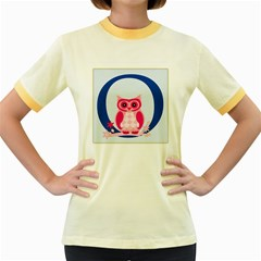 Alphabet Letter O With Owl Illustration Ideal For Teaching Kids Women s Fitted Ringer T-Shirts