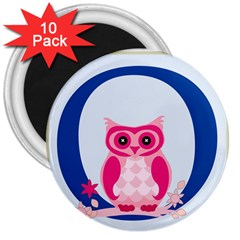 Alphabet Letter O With Owl Illustration Ideal For Teaching Kids 3  Magnets (10 Pack)